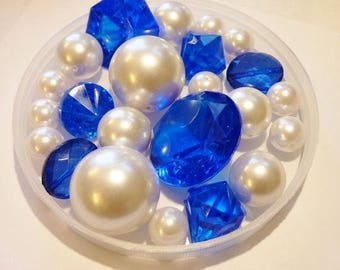 80 Royal Blue Gems/Cobalt Blue Gems and White Pearls Vase Fillers in Jumbo & Assorted Sizes  for Centerpieces