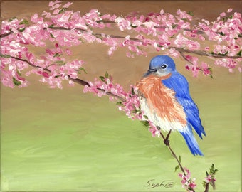"Oil Bluebird Painting / 8"" x 10"" Print"
