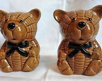 Large VINTAGE Ceramic Teddy Bear Salt & Pepper Shakers