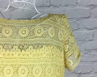 1960's Lemon Yellow Crochet Dress