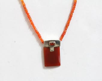 Beaded Cornelian Necklace with 925 Sterling Silver Pendant red onyx gemstone necklace