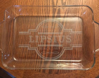 Etched Glass Caserole Dish