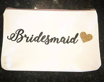 Personalized Gold Zipper Pouch Bridesmaid Gift Makeup Case Shower Favor Canvas Bag