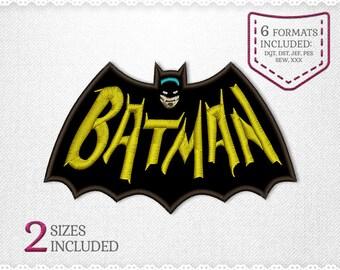 Batman Applique Machine Design - 2 Sizes - INSTANT DOWNLOAD - Applique, Embroidery, Designs