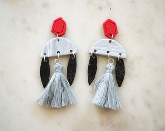 Black, grey and red statement dangles with tassels, statement jewellery, tassels, dangle tassel earrings, by Craftverkstudio