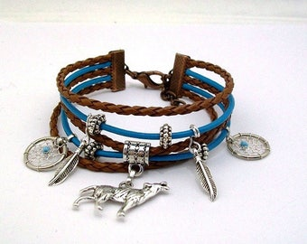 "Ethnic bracelet, Wolf ""native American spirit"""