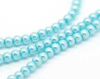 Lot 50 light blue 4mm round glass beads