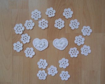 white Crochet flower, heart,decoration