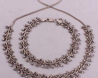 Vintage Art Nouveau Style Sterling SILVER 32 Gr.FLORAL SET Necklace & Bracelet