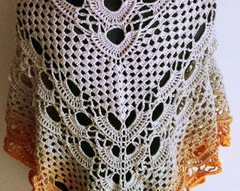 elegant shawl scarf/shawl crocheted in a gradation of colors