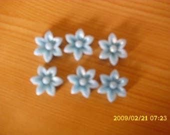 set of 6 cabochons glitter 17X6mm sky blue
