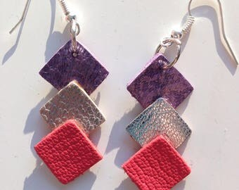 Leather pierced earring coral silver and purple