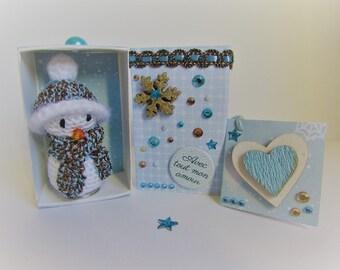 "snowman crochet in Matchbox ""with love"""