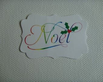 "Tag in white canson paper cut custom multicolor ""Christmas"" design"