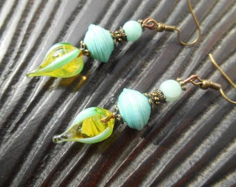 Pearl Earrings, Lampwork Glass Lampwork bead, turquoise and yellow, turquoise paper, artisan, handmade beads, artisan
