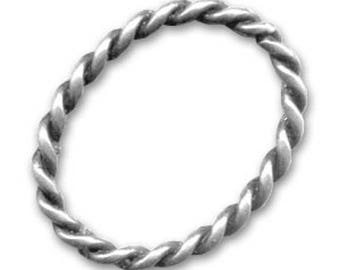 Twisted oval ring 30 x 25 mm antique silver x 2