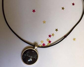 "Rubber pendant 25 mm ""Fragile"" Choker necklace"