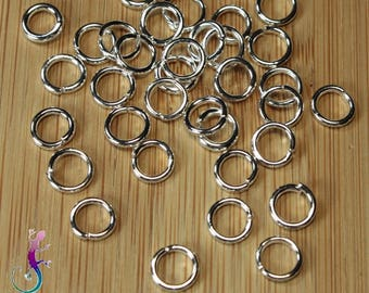 200 simple jump rings 6mm silver plated ep.1mm A294