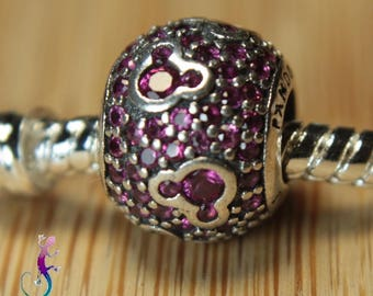 European bead pink Crystal 925 sterling silver charms for bracelet or necklace European A52