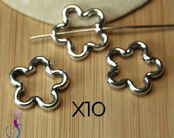 10 connectors frame flower silver-plated A222