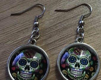 "Earrings ""skull""cabochon glass 20 mm """