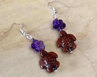 Earrings turtles bead purple flower for pierced ears