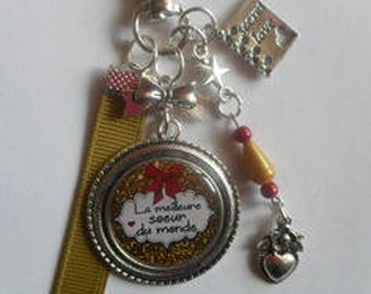 "Bag charm, door keys/sister / ""The best sister ever"" / anniversary/gift/thank you/party/Christmas"
