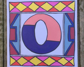 Ndebele Letter 'O' Initial/ Monogram/Alphabet Greeting Card