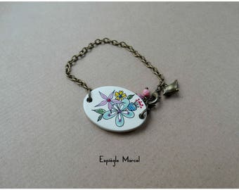 Bracelet - Porcelain - flower Locket Bracelet.
