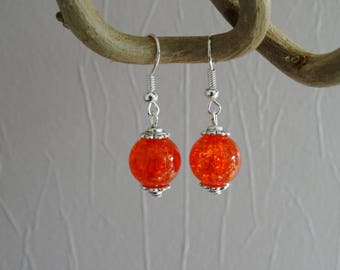 Earrings - Crackle glass bead - orange