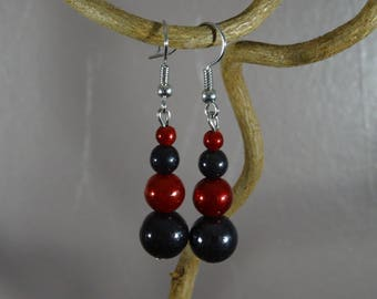 Earrings - pearls magic, miracles - gray - red