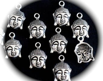 3 heads of Buddha charms in silver nickel and lead free