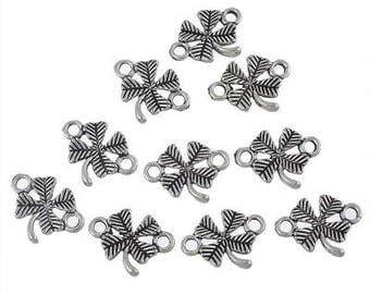 6 connectors clover in silver metal 5 x 12 mm