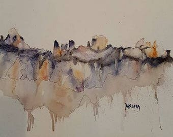 watercolor abstract mountain range