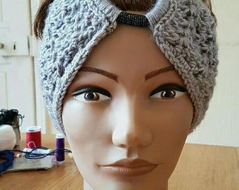wide headband grey handmade crochet stitch diamond with elastic