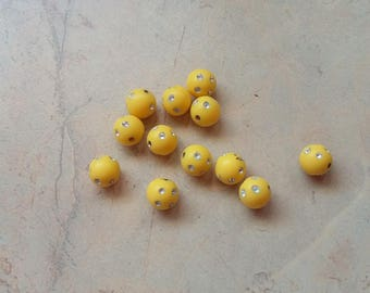 Beads acrylic 10mm yellow rhinestones