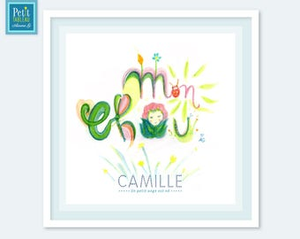 Honey-painting framed personalized name - gift - decor kids baby room