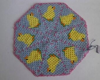 "Beaded doily pattern ""chicks""."