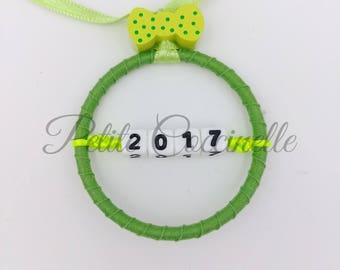 "Ball/ring 5 cm ""2017"" Christmas tree decoration, green."