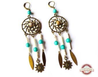 Earrings ethnic roaming dream catcher bronze bone off-white turquoise blue
