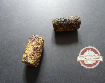 ethnic brown yellow ceramic 16x29mm tube bead