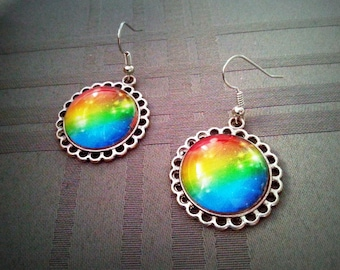 Earrings dangle, cabochon glass 20mm, multicolored patterns