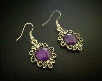 Galaxy Purple 12mm glass cabochon earrings, purple glittery varnish