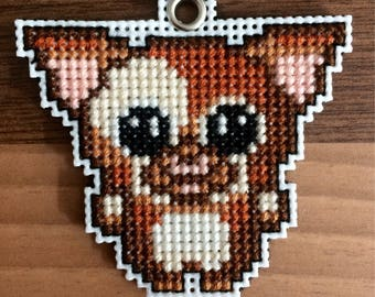 Cross Stitch Gizmo Gremlin Keyring / Necklace / Brooch
