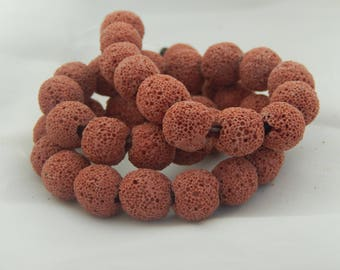 10 Red 10mm natural lava beads