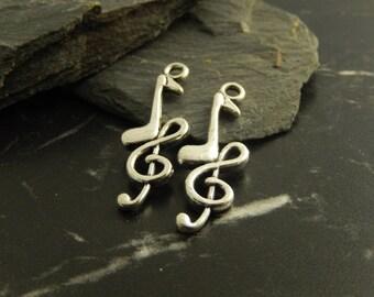 Silver music note pendants 5Breloques