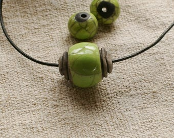 Raku Ceramic Green Bead