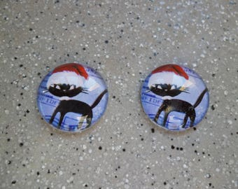 2 cabochons round illustrated Mr cat Santa Claus glass 20 mm