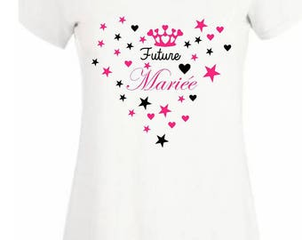 Bachelorette party T-shirt bride hearts stars and Crown