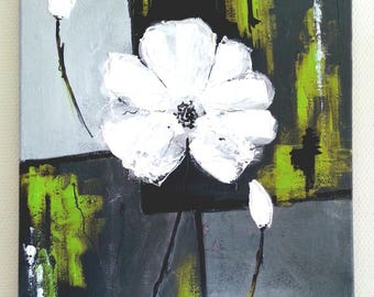Flower - modern painting abstract painting flower gis / Green